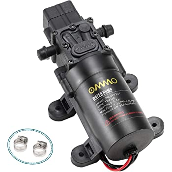 OMMO 12V DC Fresh Water Pump, 60W RV Diaphragm Pump with 2 Hose Clamps, 4.5 L/Min 1.2 GPM 85 PSI Self Priming Sprayer Pump with Pressure Switch for RV Marine Boat Lawn,12V/5A