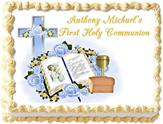 First Holy Communion Blue Edible Frosting Sheet Cake Topper - 1/4 Sheet