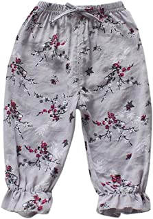 Weixinbuy Toddler Baby Elastic Waist Floral Print Pull-on Pants Bottoms Trouser for Girls