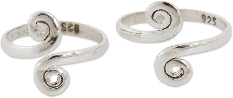 NOVICA Polished Max Popular 85% OFF .925 Sterling Silver Toe Adjustable Rings Spiral