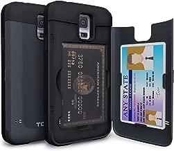 TORU CX PRO Galaxy S5 Wallet Case Dark Blue with Hidden ID Slot Credit Card Holder Hard Cover & Mirror for Samsung Galaxy S5 / S5 Neo - Metal Slate