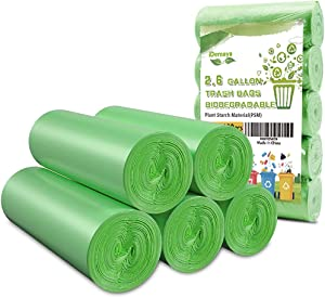 iDemaya Small Trash Bags, Biodegradable 2.6 Gallon Extra Thick Garbage Bags, Recycling & Degradable Rubbish Bags Wastebasket Liners for Kitchen Bathroom Office Car Pet, (5 Rolls / 100 Counts, Green)