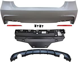Rear Bumper Cover Compatible With 2012-2018 F30 | 335i M Performance Rear Bumper Conversion Single Muffler Twin Outlet PP by IKON MOTORSPORTS | 2013 2014 2015