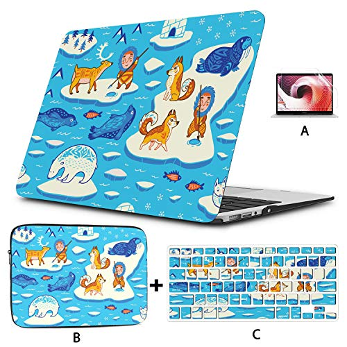 13inch MacBook Air Case North Pole Seamless Inuit Art Cover for Laptop Hard Shell Mac Air 11'/13' Pro 13'/15'/16' with Notebook Sleeve Bag for MacBook 2008-2020 Version