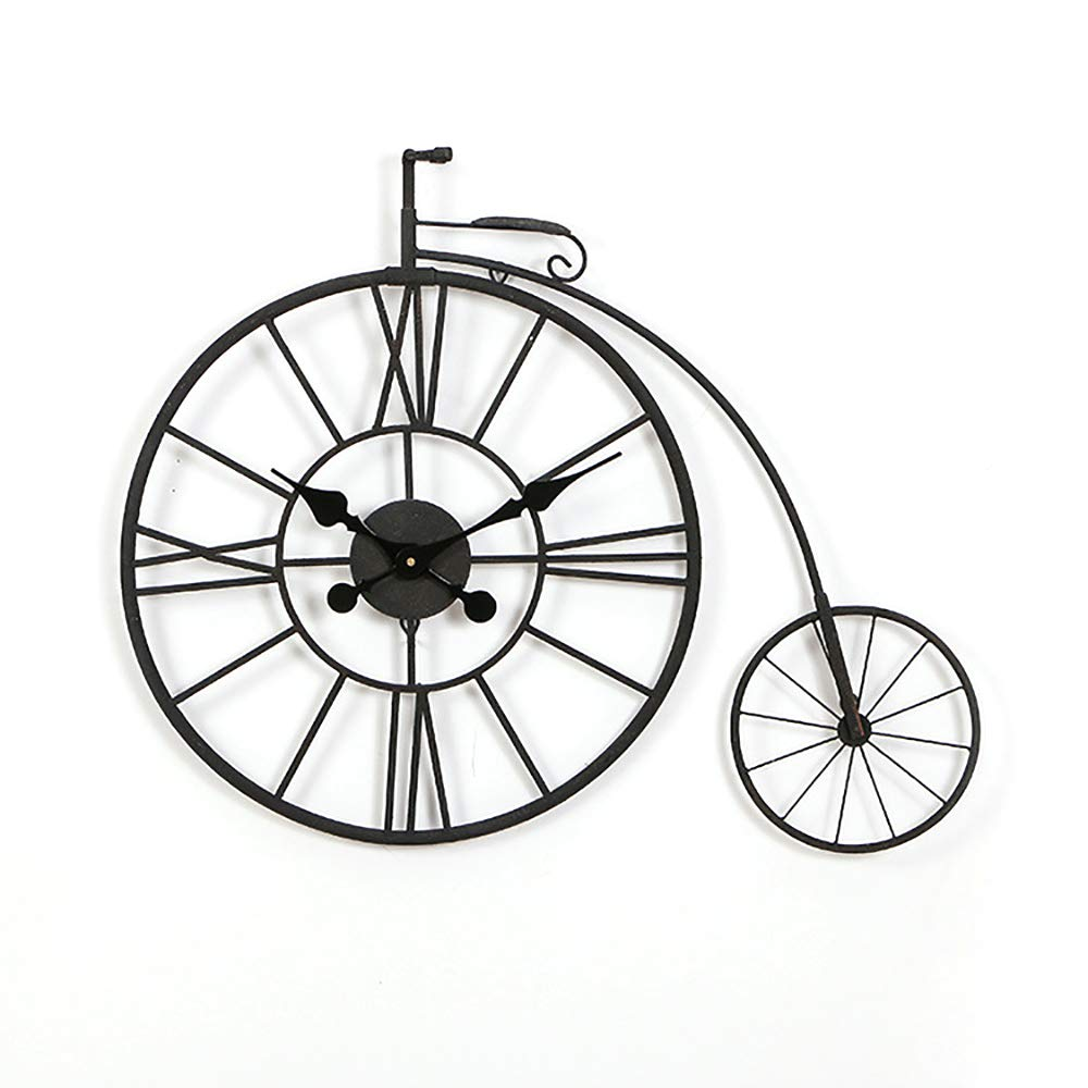 BuyBuyBuy Negro Personalidad Creativa Hueco del Reloj De Pared De Bicicletas American Country Bar Decoración del Reloj De Hierro Forjado De Cuarzo Reloj De Pared 78 * 62 (cm) Hora de soñar: