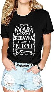 ZXH Women Round Neck Avada Kedavra Bitch Print Short Sleeve T-Shirt for Summer