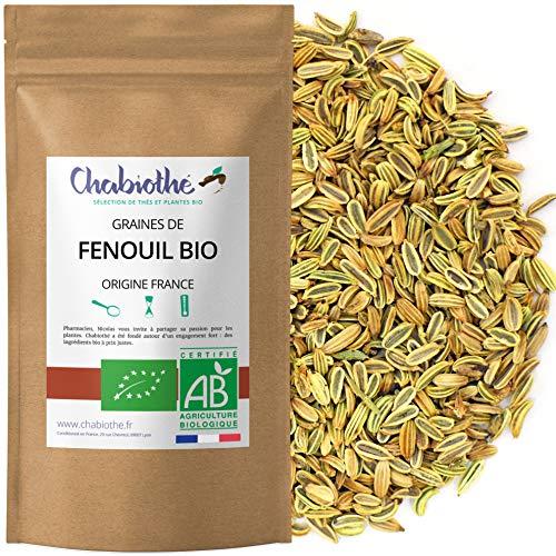 Chabiothé - Fenouil Bio Graines 200g - Origine FRANCE - tisane allaitement et digestion - sachet biodégradable