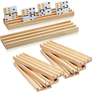 Wooden Domino Racks Set of 8 - Exqline Premium Domino Trays Holders Organizer for Mexican Train Chickenfoot and Other Domi...