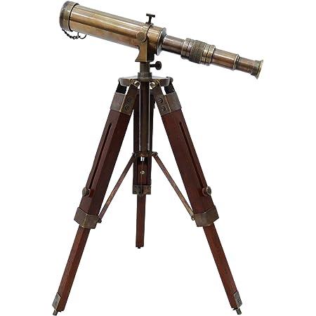 Telescopio de latón Macizo Pirata del catalejo de Madera Decorativo Soporte náutico de la India