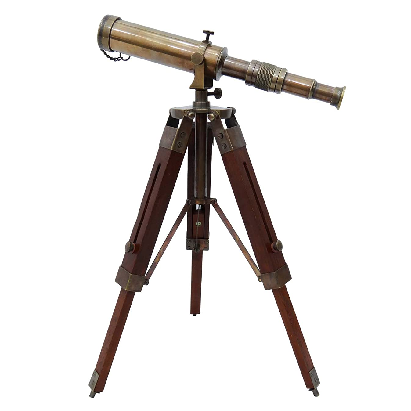 Telescope Brass Pirate Solid Spyglass Wood Decorative Stand Indian Nautical