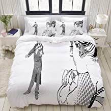 ALLMILL Duvet Cover King Size Man Playing Violin to a Lady Romantic Scene Retro Image 3pc Bedding Set (1 Duvet Cover and 2 Pillow Shams) 104