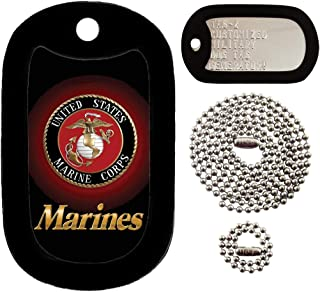 Tag-Z Marines Logo - USMC - Customized - Full Set Military Dog Tags