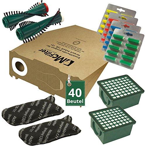 Oferta de ahorro: 86 piezas, juego de 40 bolsas de aspirador, filtros, cepillos y ambientadores para Vorwerk Kobold VK 130, VK 131 y 131 SC con cepillos eléctricos (EB) 350 / 351