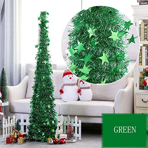 DGDG Pop Up oropel árbol de Navidad, con Brillantes Lentejuelas fácil Montaje del árbol de Navidad Artificial for el Partido de Ministerio del Interior Chimenea D (Color : Green, Size : 4ft(120cm))