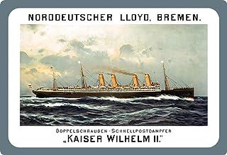 Cartel de chapa genérico, 20 x 30 cm, arqueado barco vaporizador Kaiser Wilhelm II Cartel decorativo