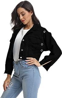 kefirlily Women's Premium Denim Jacket Long Sleeve Washed Crop Jean Coats