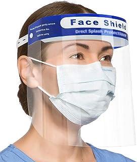 2PCS Safety Face Shield Full Protection Cap Wide Visor Resistant Spitting Anti-Fog Lens, Lightweight Adjustable Transparent Face Shield for Men Women