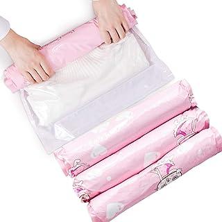 手巻き圧縮袋 旅行収納 衣類圧縮袋 ポンプ不要 再利用可能 衣替え/出張/旅行/ハイキング用 12枚入 可愛い猫収納袋