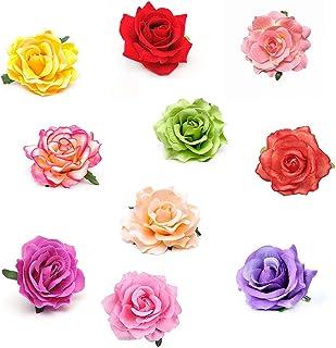 Mehrfarbig Haarclip Blume,Blume Haarnadel Ansteckblume Blumenbrosche Bunte Rose Blume Haarspangen für Frauen Mädchen Party Haarschmuck (10 Stück)