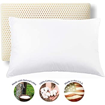 RejuveNite American Talalay Latex Medium Support Bed Pillow for Sleeping with Luxurious 100% Cotton Sateen, 400TC Cover, Standard High Profile – Made in USA
