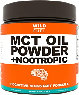 MCT Oil Powder Plus Nootropic Boosters - Wild Fuel Keto Coffee Creamer, Ketogenic Diet Support - Easy Blend, Rapidly Absor...