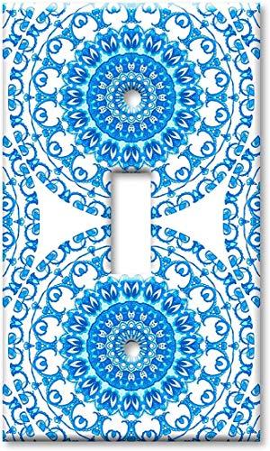 Interruptor de luz de noche cubierta plate1-Gang Toggle sobresize interruptor placa/sobretamaño pared placa - azulejo de cerámica azul