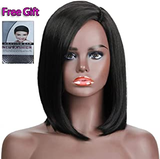 Uniyou 12 Inches Black Bob Wig Side Part Straight Yaki Synthetic Heat Resistant Full Head Wigs Natural Looking Short Bob Wig for White Black Women