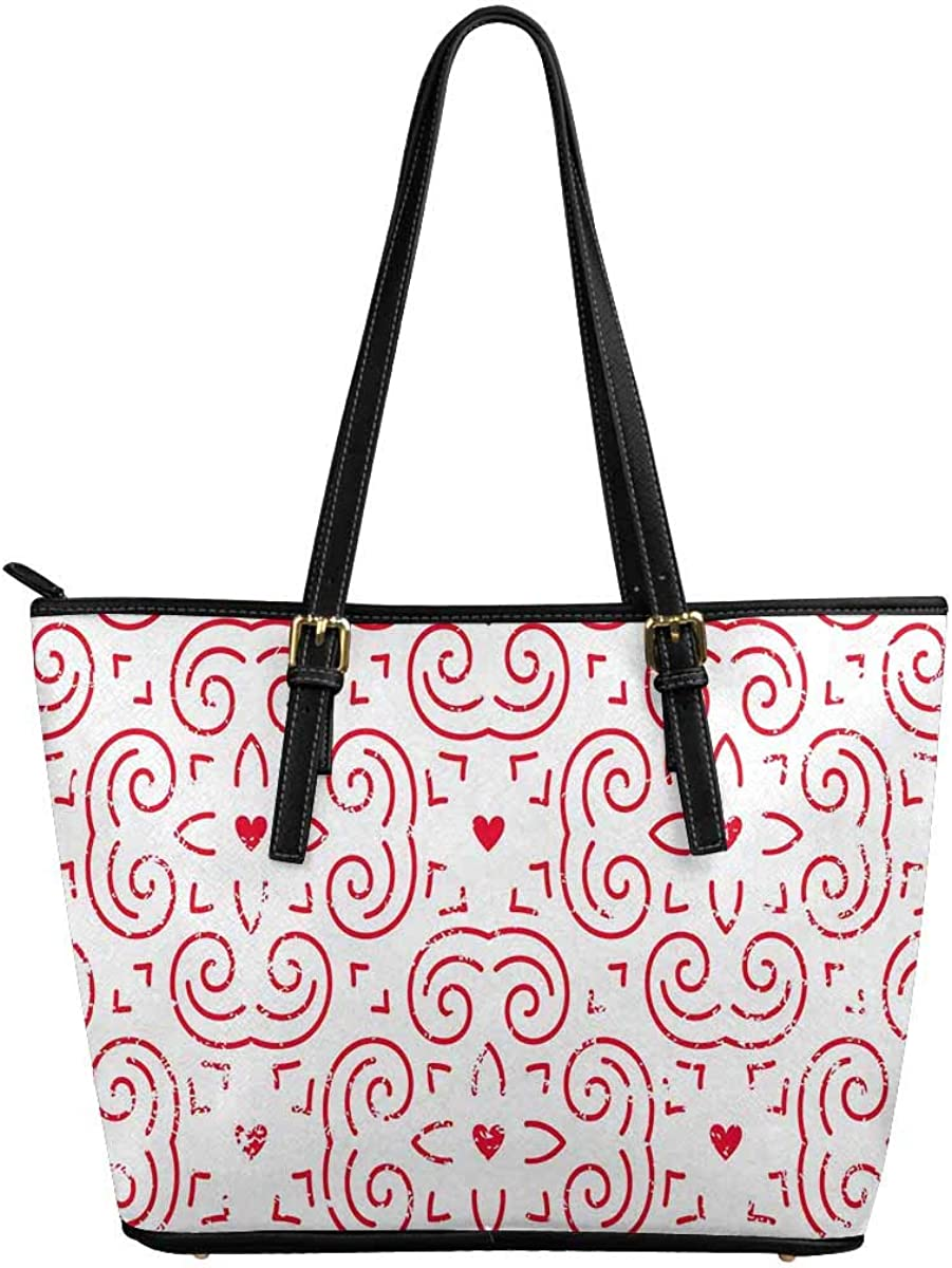 INTERESTPRINT Hearts in Red Women Totes Top Handle HandBags PU Leather Purse