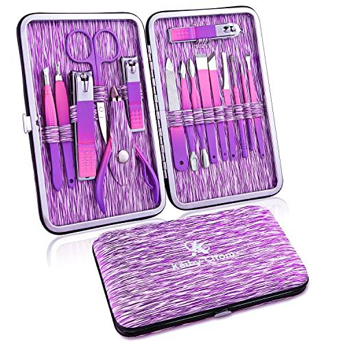 Set Manicura Pedicura 16 Piezas, Profesional Cortaúñas Acero Inoxidable Grooming Kit con Bonita Caja (Púrpura)