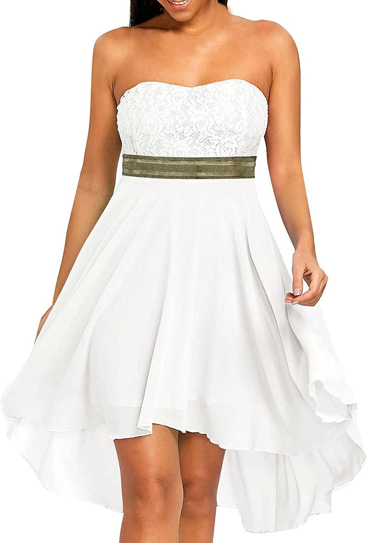 DIOMOR Elegant Chiffon Lace Strapless High Low Hem Bridesmaid Co