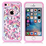 iPhone 5S Case, iPhone 5 Case, Rainbow Unicorn Pattern Shock-Absorption Hard PC and Inner Silicone Hybrid Dual Layer Armor Defender Case Cover for Apple iPhone 5S iPhone 5 (Not for iPhone SE 2020)