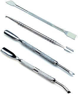 VAGA 4 Herramientas de metal para hacer manicura y pedicura, Kit de uso profesional para podologo quita cutícula, empujador de cuchara, cuchillo, punta plana y filosa, removedor de cuticula de acero
