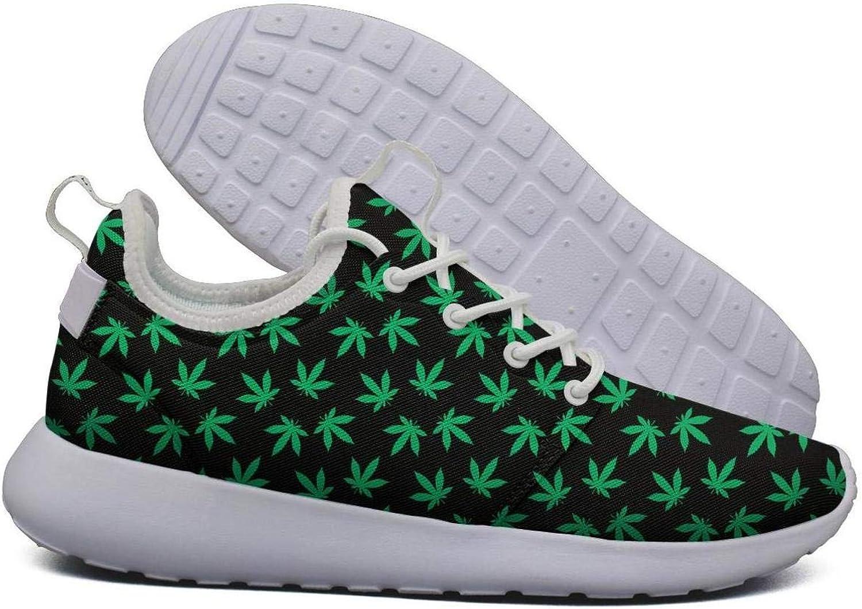 Hoohle Sports Womens Cannabis Leaf Flex Mesh Roshe 2 Lightweight Beautiful Walking Jogging shoes
