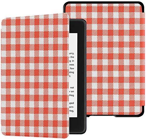 Gloednieuwe Kindle Paperwhite Waterveilige stoffen hoes (10e generatie, versie 2018), rood geruite tafelkleden Patronen Vector tablethoes