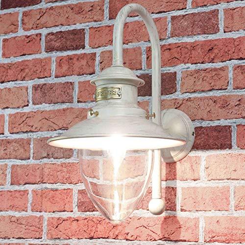*Außenwandleuchte aus Messing in Weiß Gold Handarbeit Maritim Shabby Glasschirm Außenleuchte Wandlampe Haus*