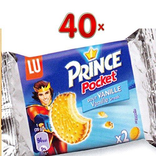 LU Prince Pocket goût Vanille 40 x 28,5 g Packung je zwei pro Packung (Prinzen-Keks mit Vanillecreme-Füllung)
