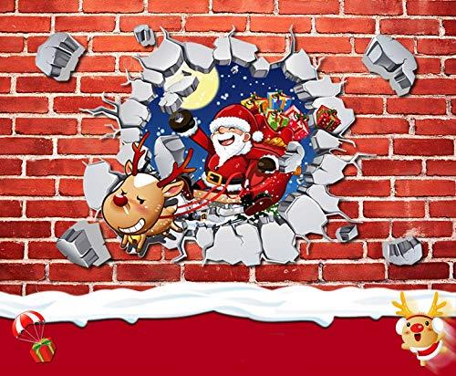 DuFirex - Adesivo da parete con renna di Babbo Natale, grande decorazione per porta, decorazione natalizia per festival, idea regalo (45 x 59,9 cm)