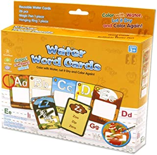 Aqua Doodle Flash Card 26 Letters Education Water Drawing Toys Alphabets, First Words, Colors & Animals Cognitive Doodle Cards with 2 Magic Pens