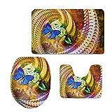 Coloranimal 3Piezas de Juego de Alfombra de baño Mariposa Impresiones Contorno Mat + Tapa + para Tapa de Inodoro baño Felpudo