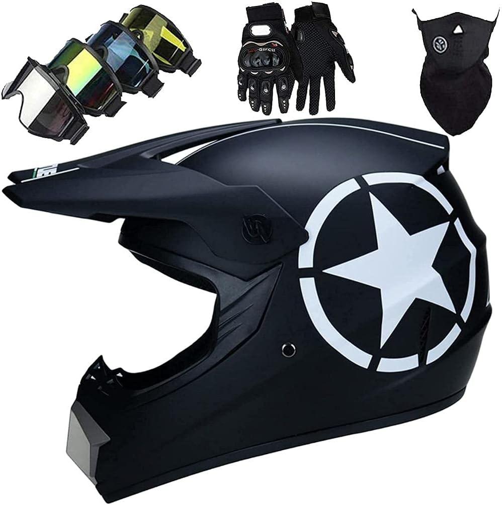 Vbnmda Casco de Motocicleta de Auriculares de Motocross MTB Incorporado para niños y Adultos Enduro BMX Bikes Auriculares Scooter con Guantes/Gafas/máscara (4 Habitaciones)-SG