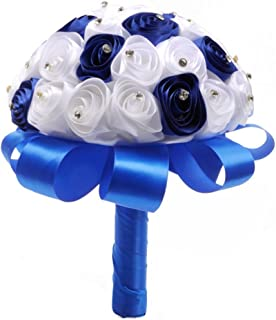 ZTTONE Wedding Bouquet, Holding Flowers Crystal Roses Pearl Bridesmaid Wedding Bouquet Bridal Artificial Silk Flowers (Blue)