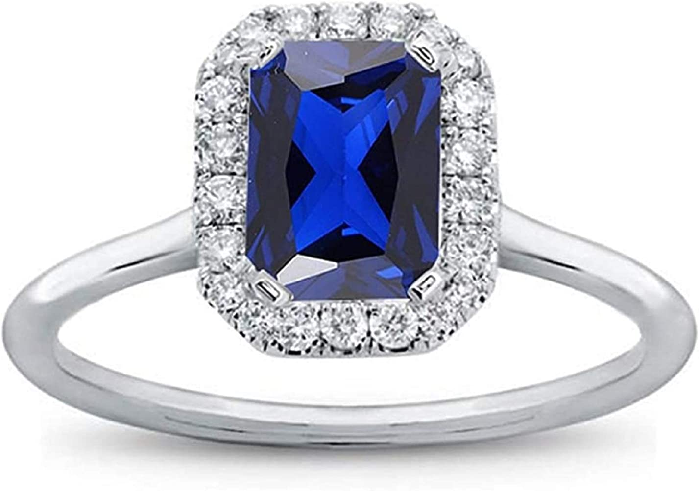 Max 86% OFF PB Collection Emerald Shape Blue Sterling Ha Sapphire discount 925 Silver