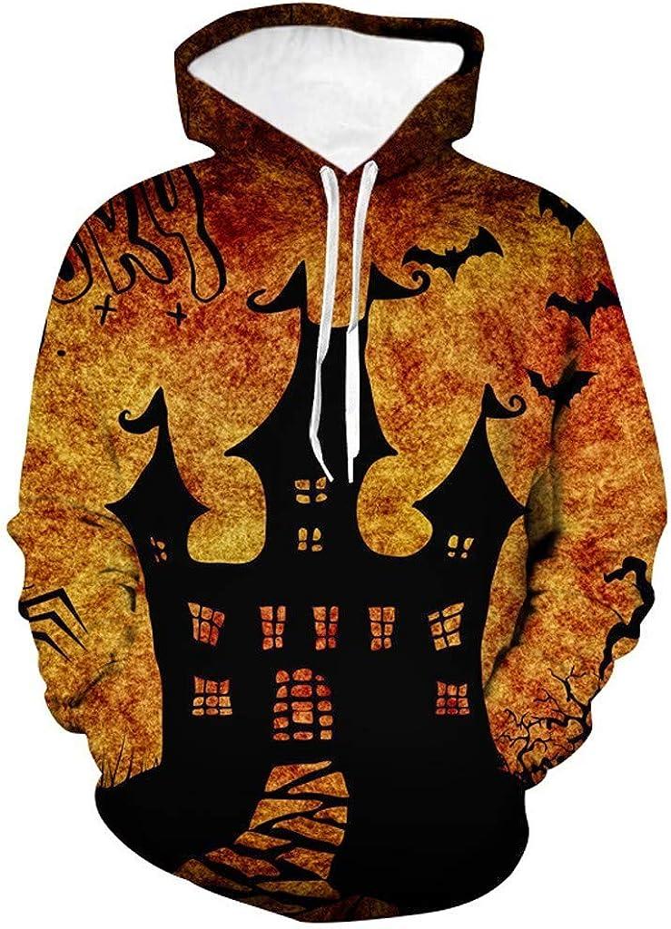 Hoodies for Men Pullover Cheap,Forthery Unisex 3D Print Halloween Long Sleeve Novelty Hoodie Pullover Fleece Sweatshirt
