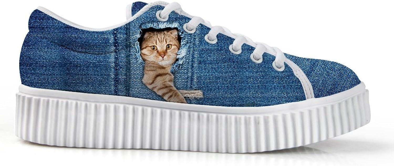 HUGSIDEA Cat Face Print Casual Platform Sneakers Round Toe Low Cut shoes