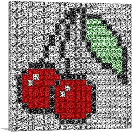 ARTCANVAS Red Cherry Fruit Emoticon Jewel Pixel Canvas Art Print - 12' x 12' (0.75' Deep)