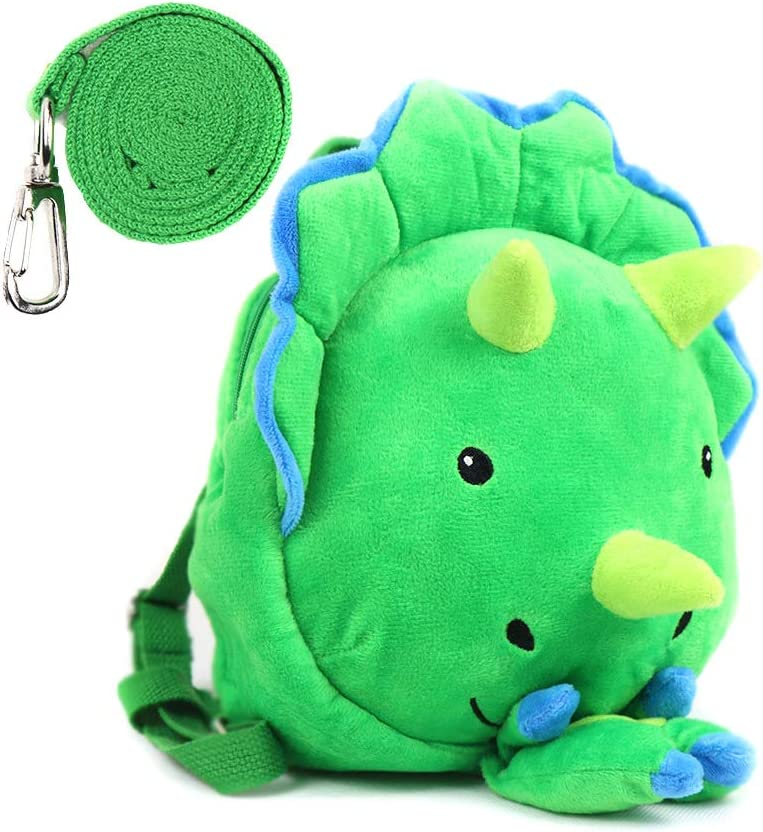 Heltid Mini Dinosaur Toddler Backpack with Leash,Anti-Lost Harness Triceratops Backpack Safety Leash for Boys and Girls