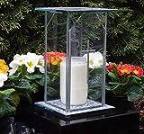 ♥ ♥ Design Grab lampada in vetro con croce oro incl.Tomba candela 22,0cm Tomba gioielli tomba Lanterna Lampada Lanterna da giardino Cimitero Tomba luce decorazione candela