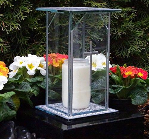 ♥ Design Grablaterne Grablampe 22,0cm incl. Grabkerze Grabschmuck Grableuchte Laterne Kerze Lampe