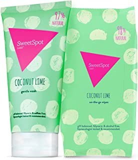 SweetSpot Labs Natural, pH Balanced, Personal Gentle Body Wash and Wipes (Coconut Lime, Bundle)   Dermatologist & Gynecologist Tested