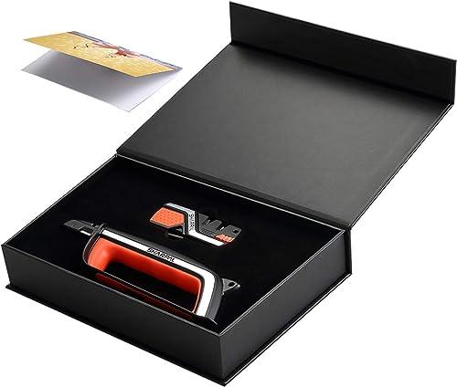 SHARPAL Pocket Knife Sharpener & Garden Tool Sharpener, Sharpening Straight and Serrated Knives, Lawn Mower Blade, Ax...